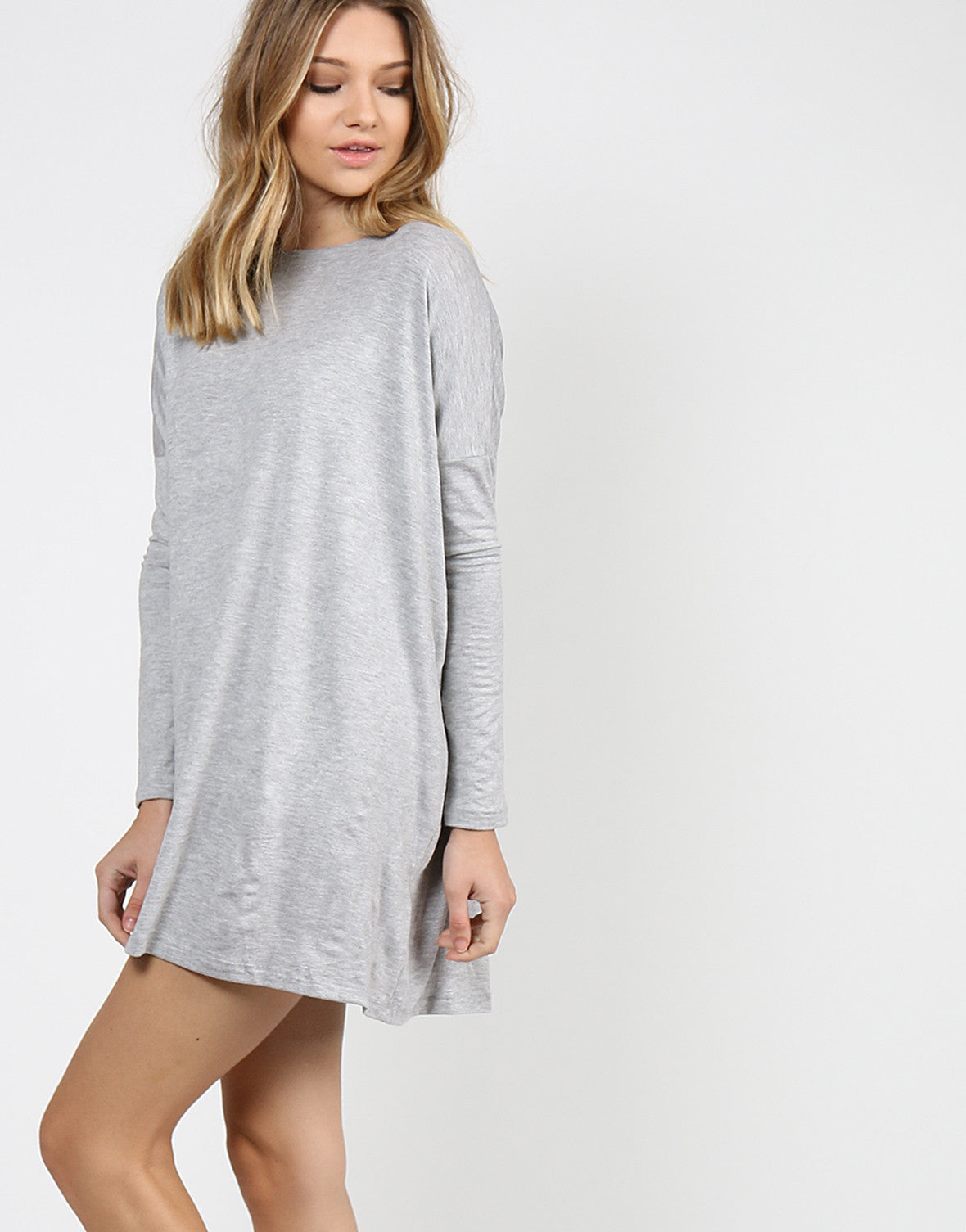 Long Sleeve Shirt Dress - Heather Gray