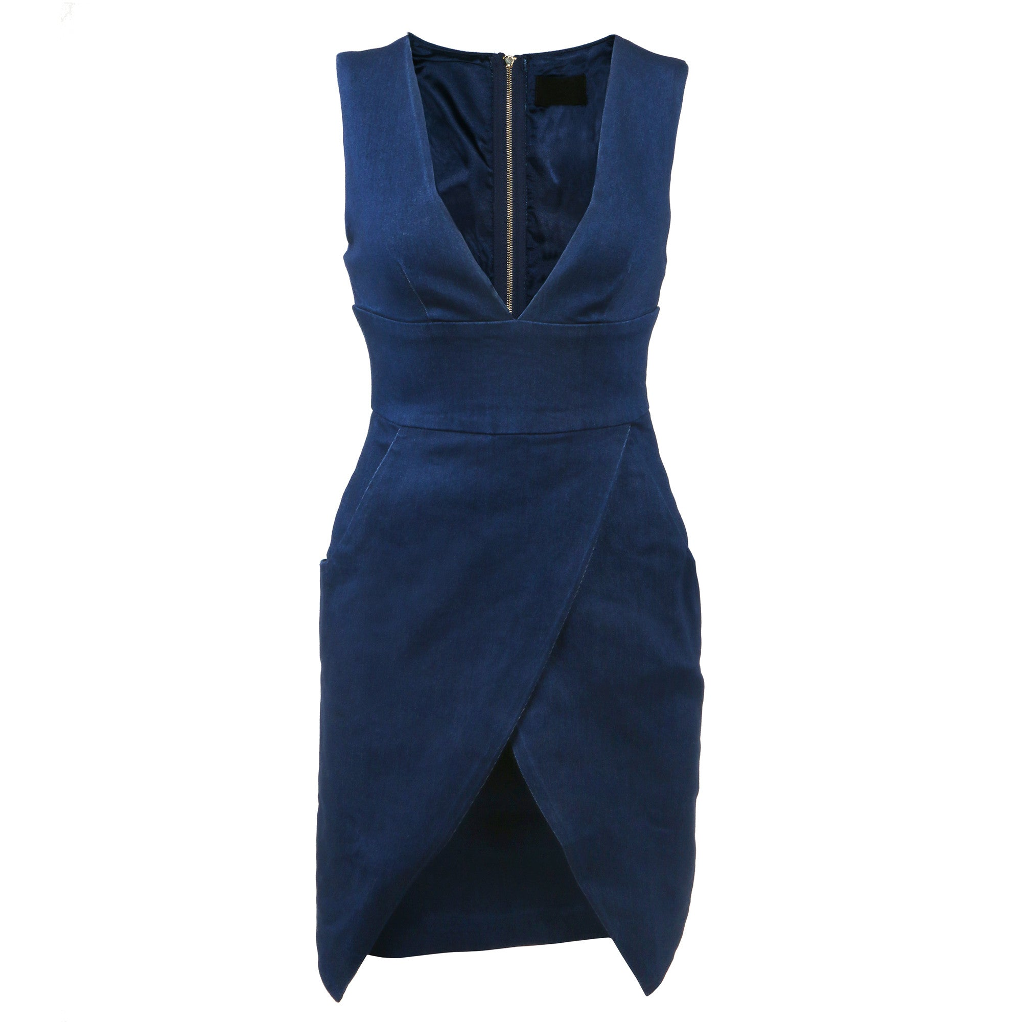 Plunging Asymmetrical Denim Dress - 2020AVE