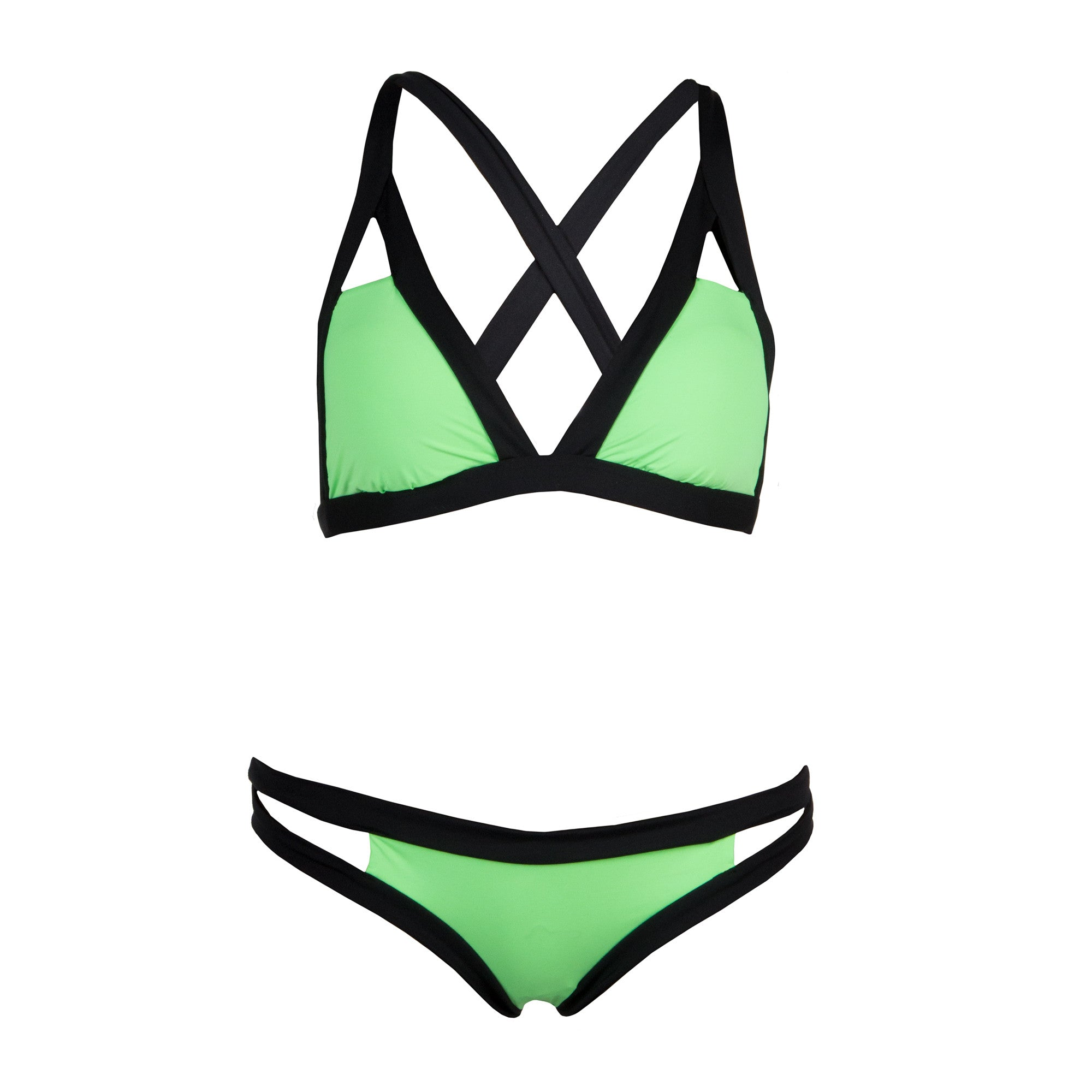Neon Cross Back Bikini Set