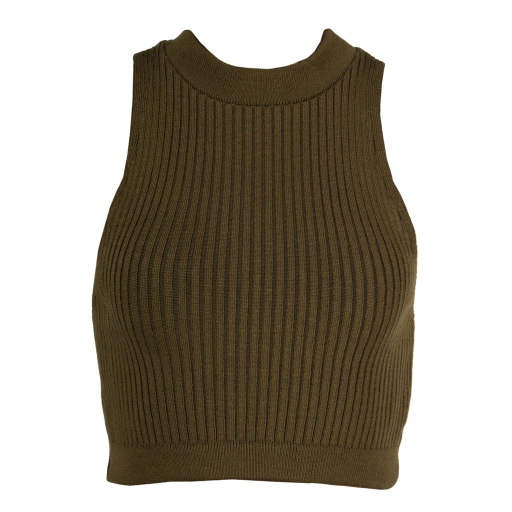 Ribbed Mock Neck Cropped Top - Olive - 2020AVE