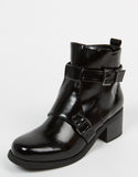 Patent Buckled Ankle Boots
