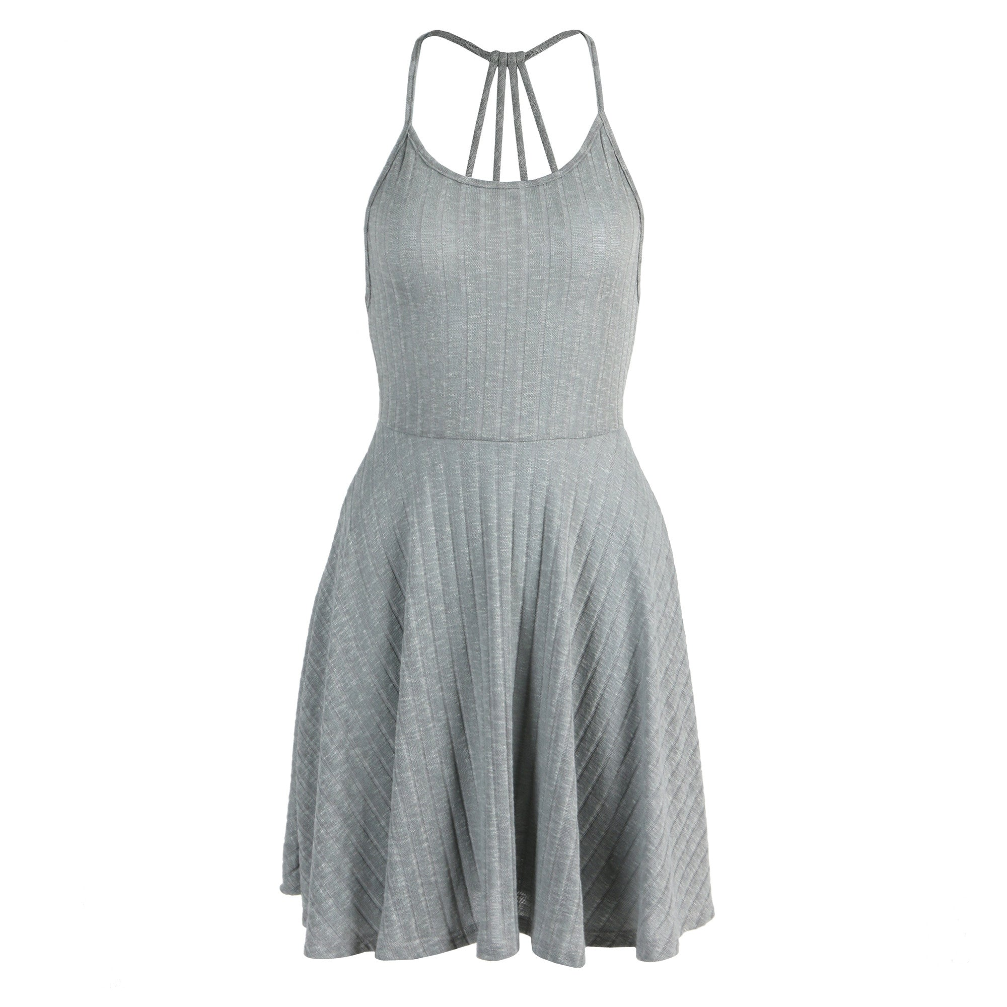 Strappy Ribbed Skater Dress - 2020AVE
