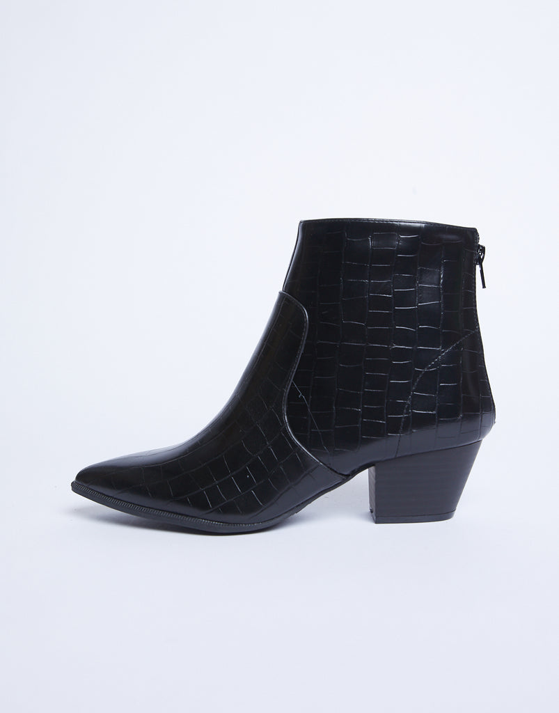 In A While Croc Booties Shoes Black 5.5 -2020AVE
