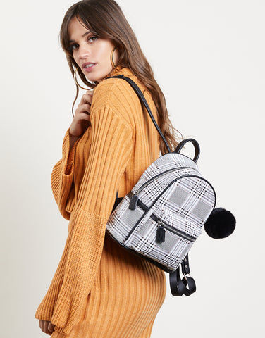 In Crowd Plaid Mini Backpack