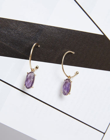 Incomplete Hoop Stone Earrings
