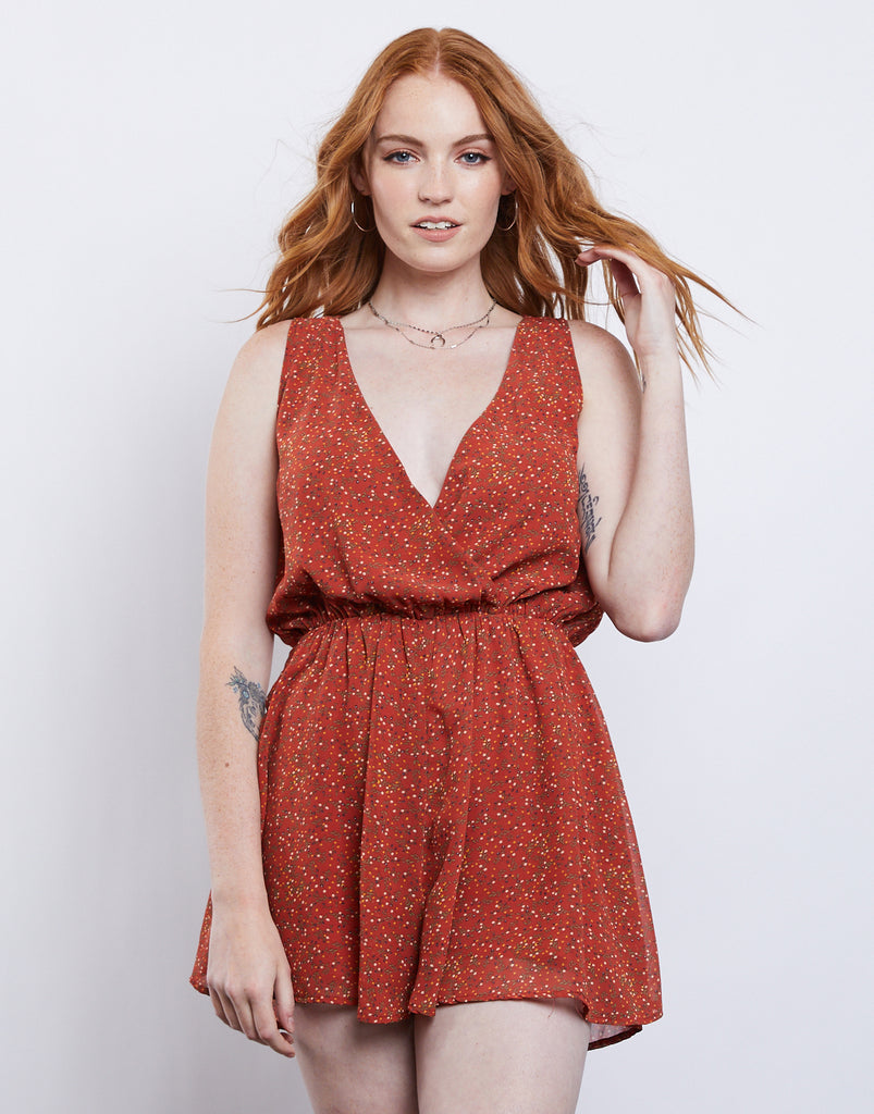 Into Bloom Sleeveless Romper Rompers + Jumpsuits Orange Small -2020AVE