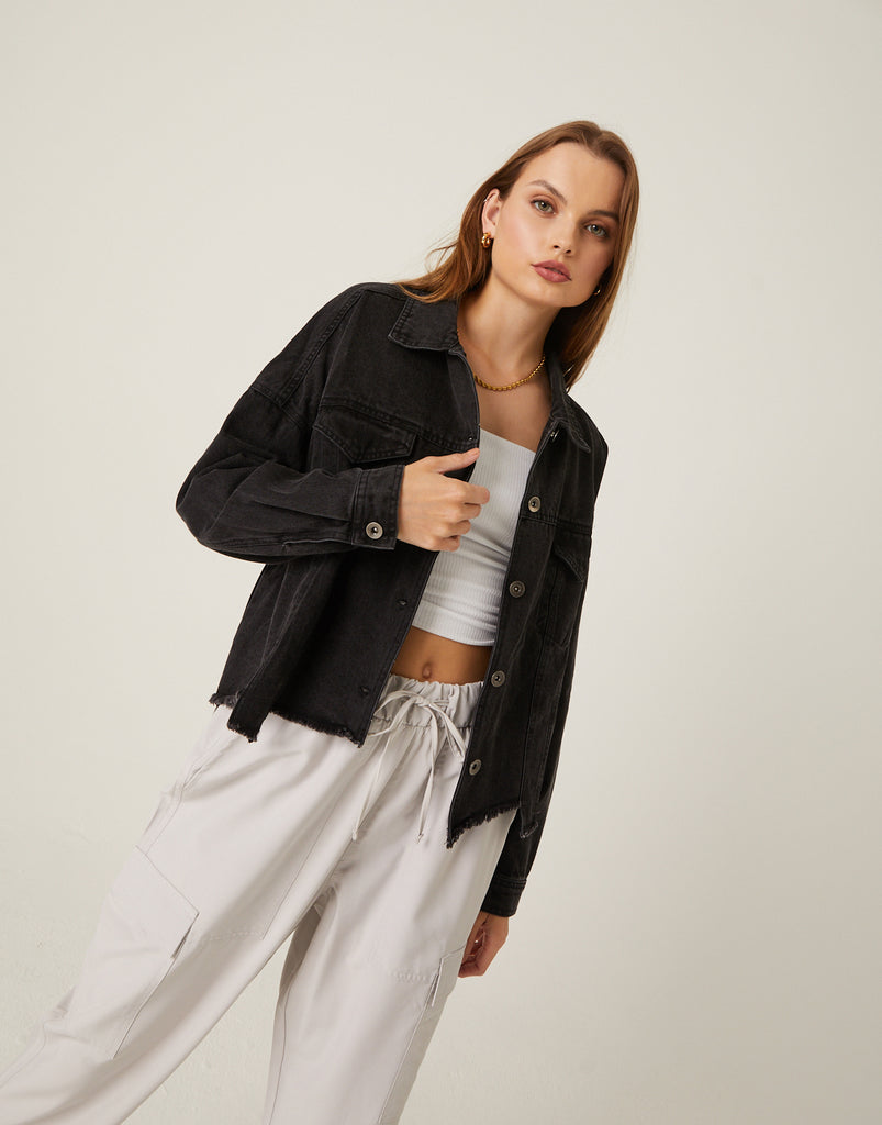 Jagged Hem Denim Jacket Outerwear -2020AVE