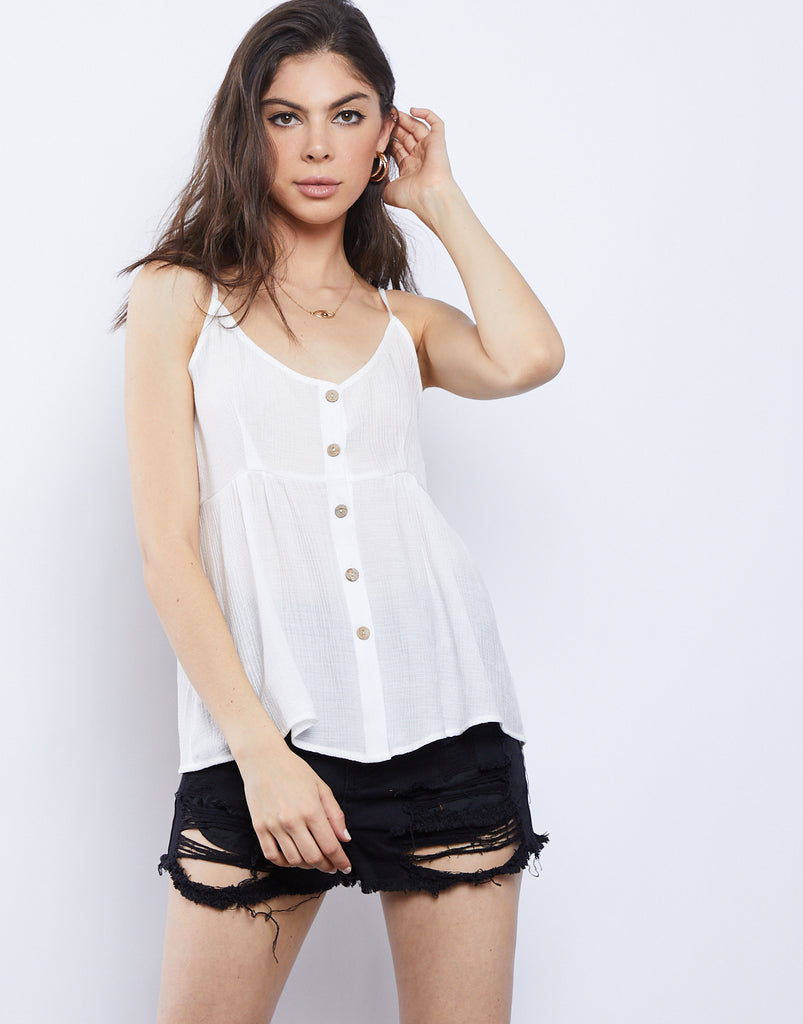 Janie Button Front Top Tops White Small -2020AVE