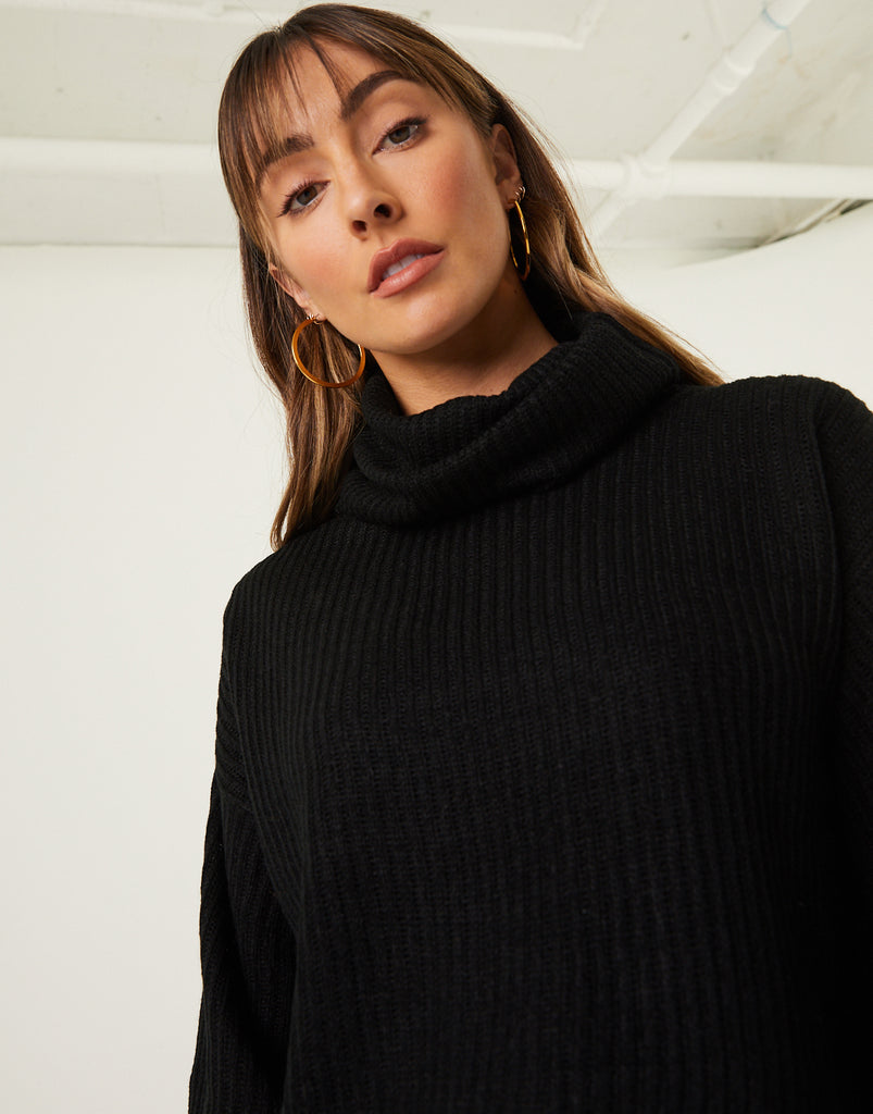 Cowl Neck Sweater Tops Black Small -2020AVE