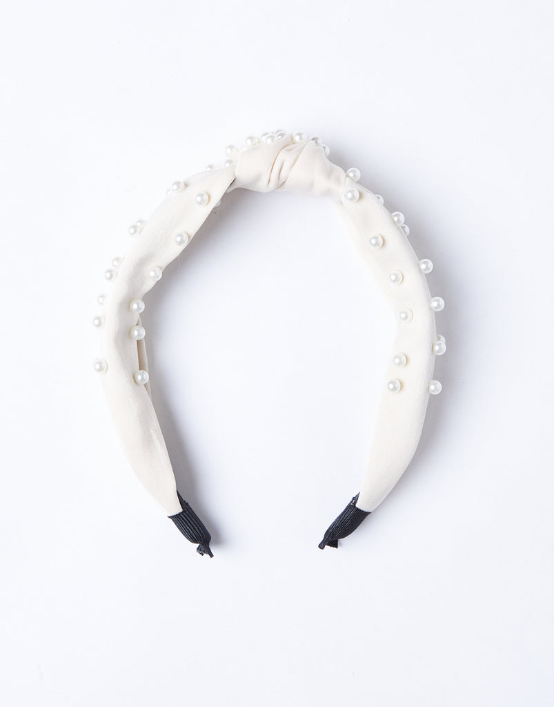 Jewel Of The Sea Pearl Studded Headband Accessories Beige -2020AVE