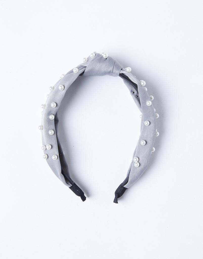 Jewel Of The Sea Pearl Studded Headband Accessories Gray -2020AVE