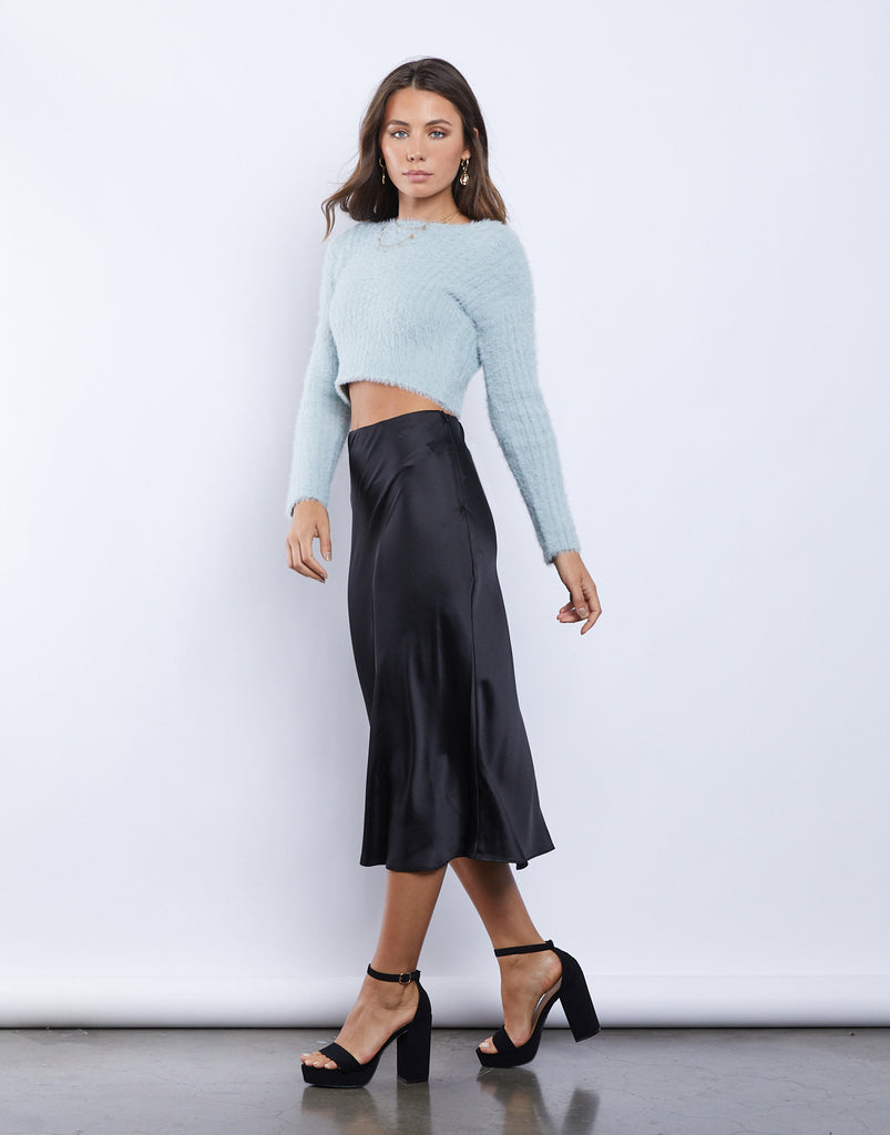 Jewel Silky Midi Skirt Bottoms Black Small -2020AVE