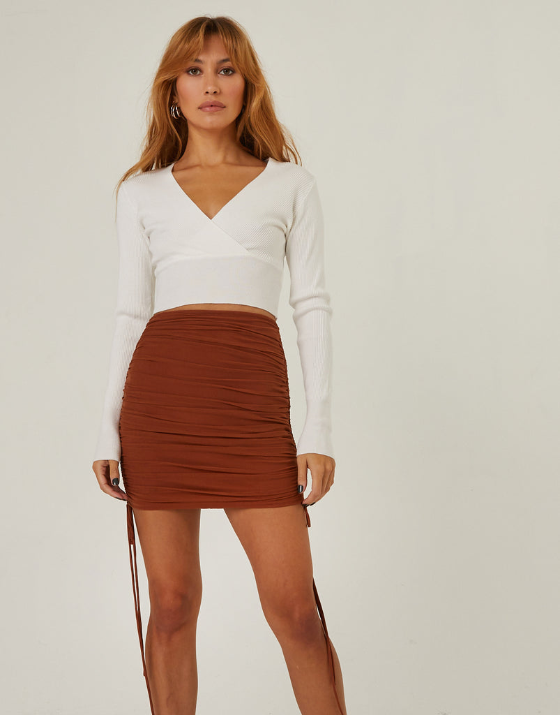 Mesh Ruched Mini Skirt Bottoms Brown Small -2020AVE