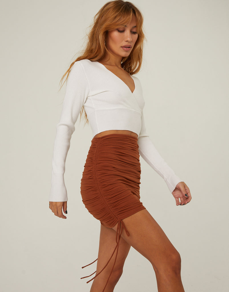 Mesh Ruched Mini Skirt Bottoms -2020AVE