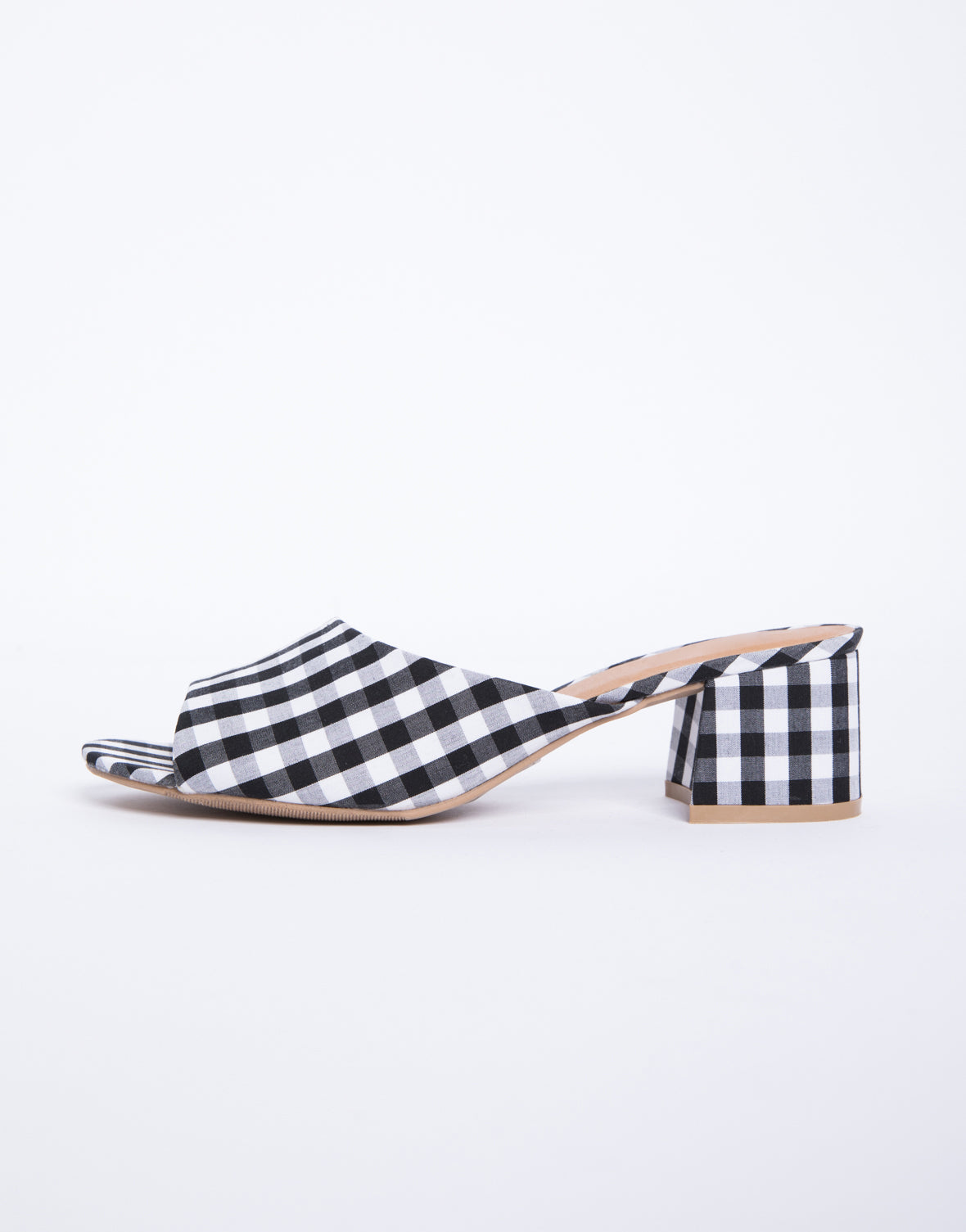 Gingham Slide Mules
