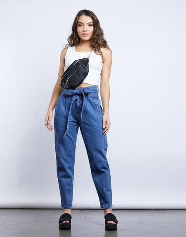 Katherine Denim Paper Bag Pants