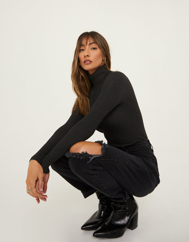 Keep It Sweet Ribbed Turtleneck Tops Charcoal Small -2020AVE