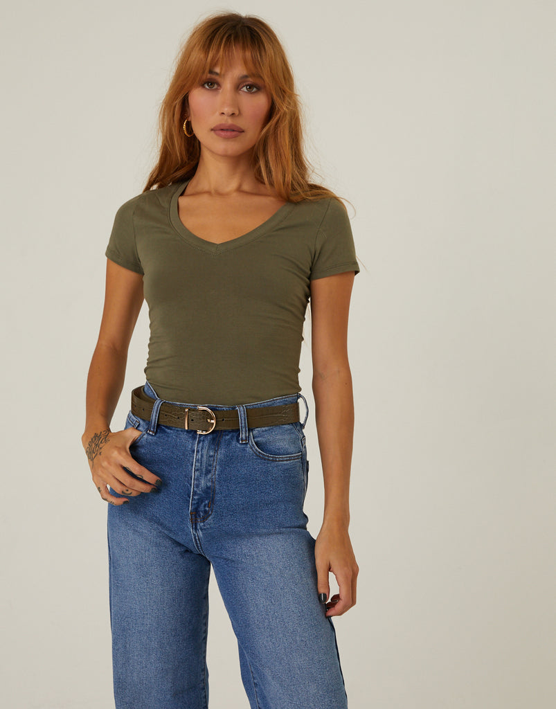 Kelly Tee Bodysuit Tops Olive Small -2020AVE