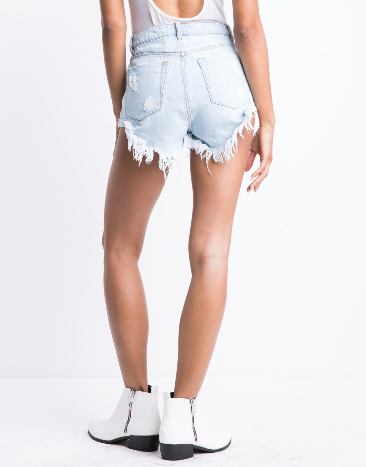 Kelsey High Waisted Distressed Shorts