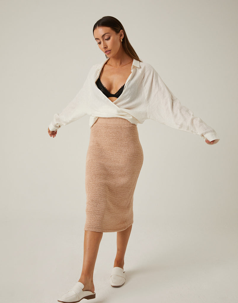 Knit Midi Skirt Bottoms -2020AVE