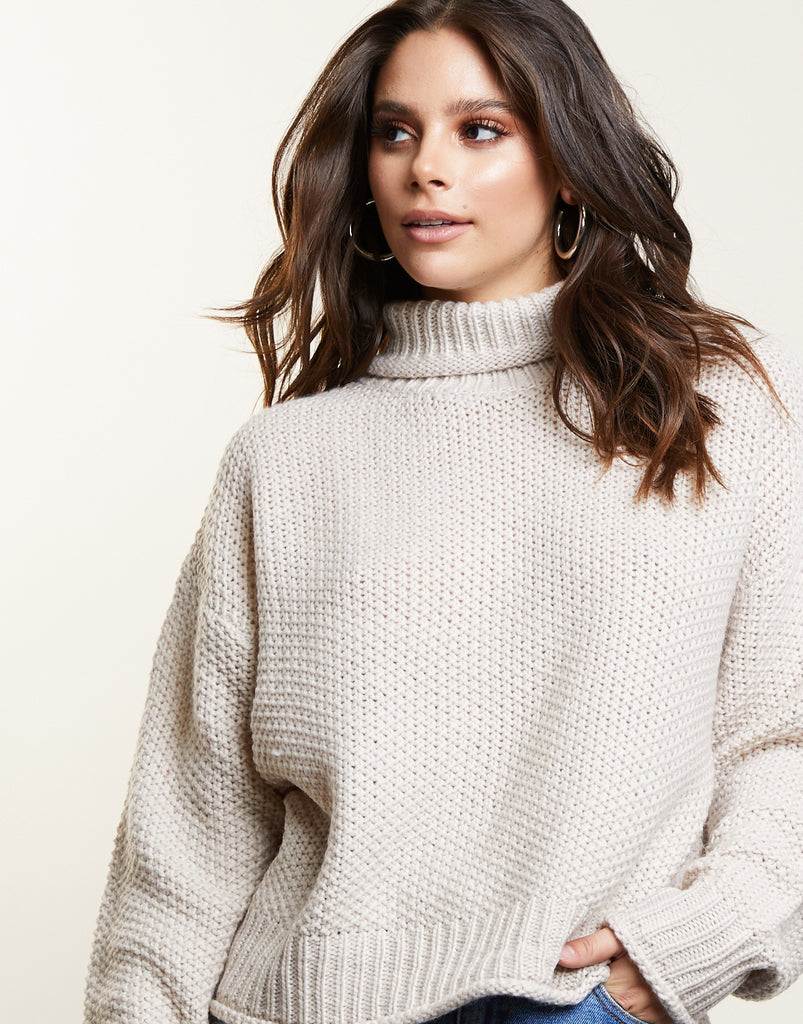 Kristen Turtleneck Sweater Tops Oatmeal Small -2020AVE