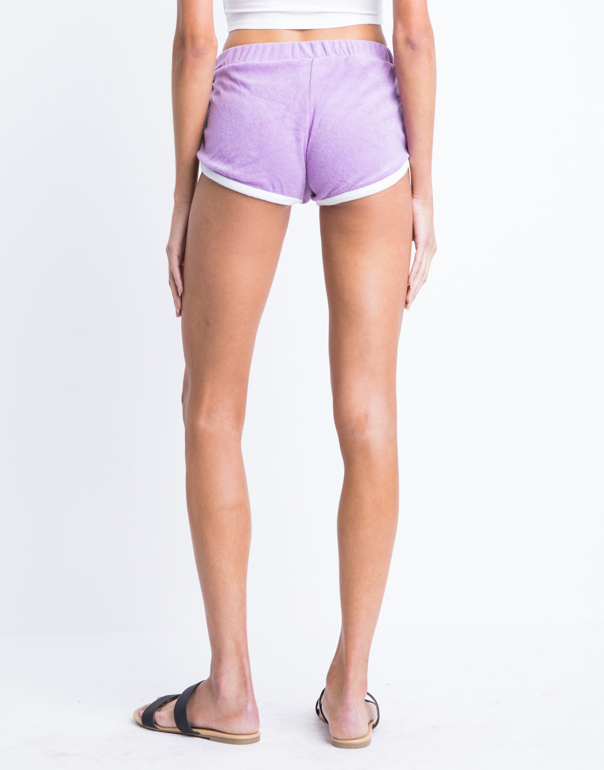 Lace Up Terry Cloth Shorts