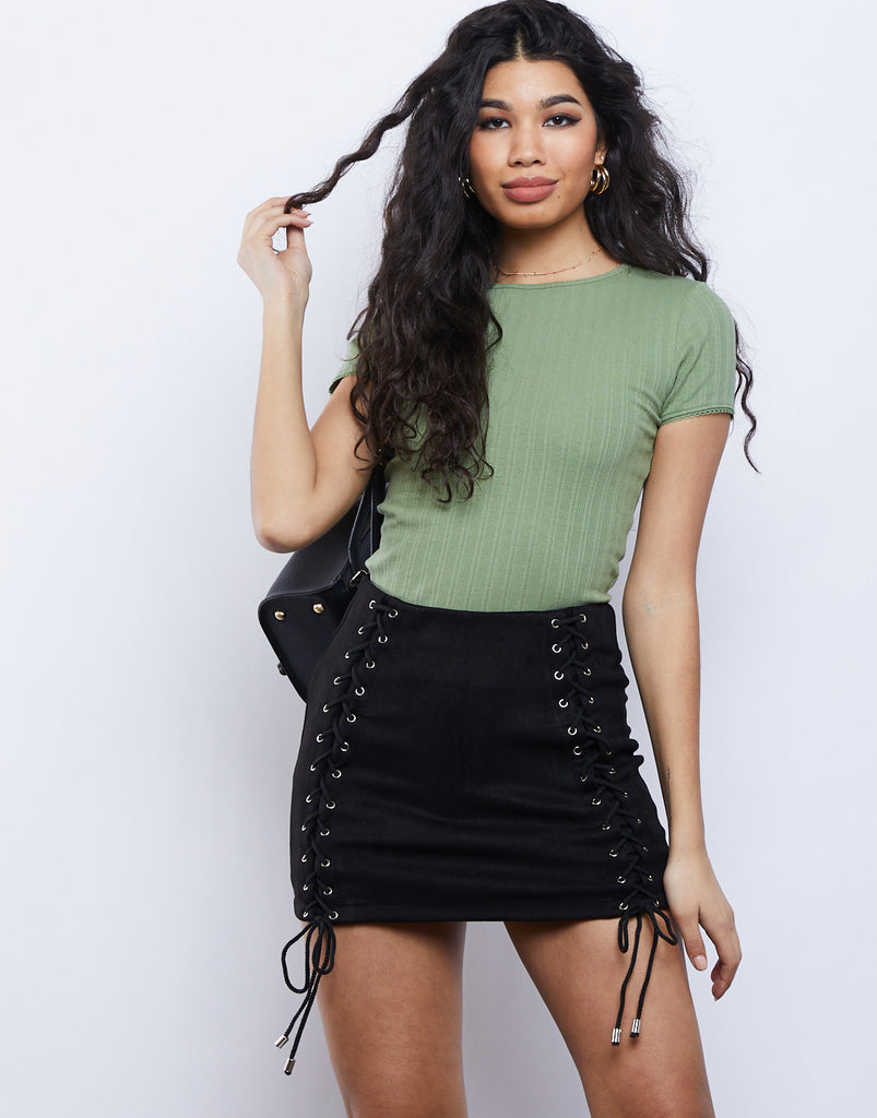 Laced Up Mini Skirt Bottoms Black Small -2020AVE
