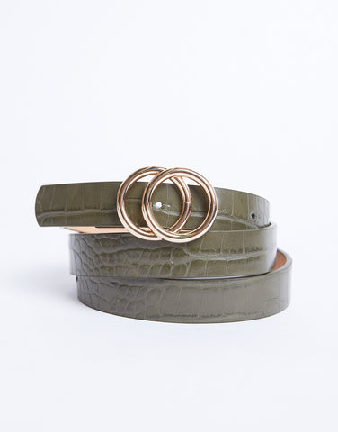 Later Alligator Double Buckle Belt