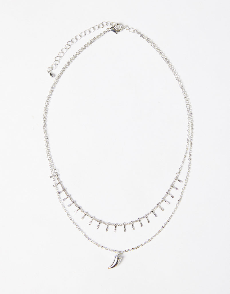Layered Horn Necklace Jewelry Silver One Size -2020AVE
