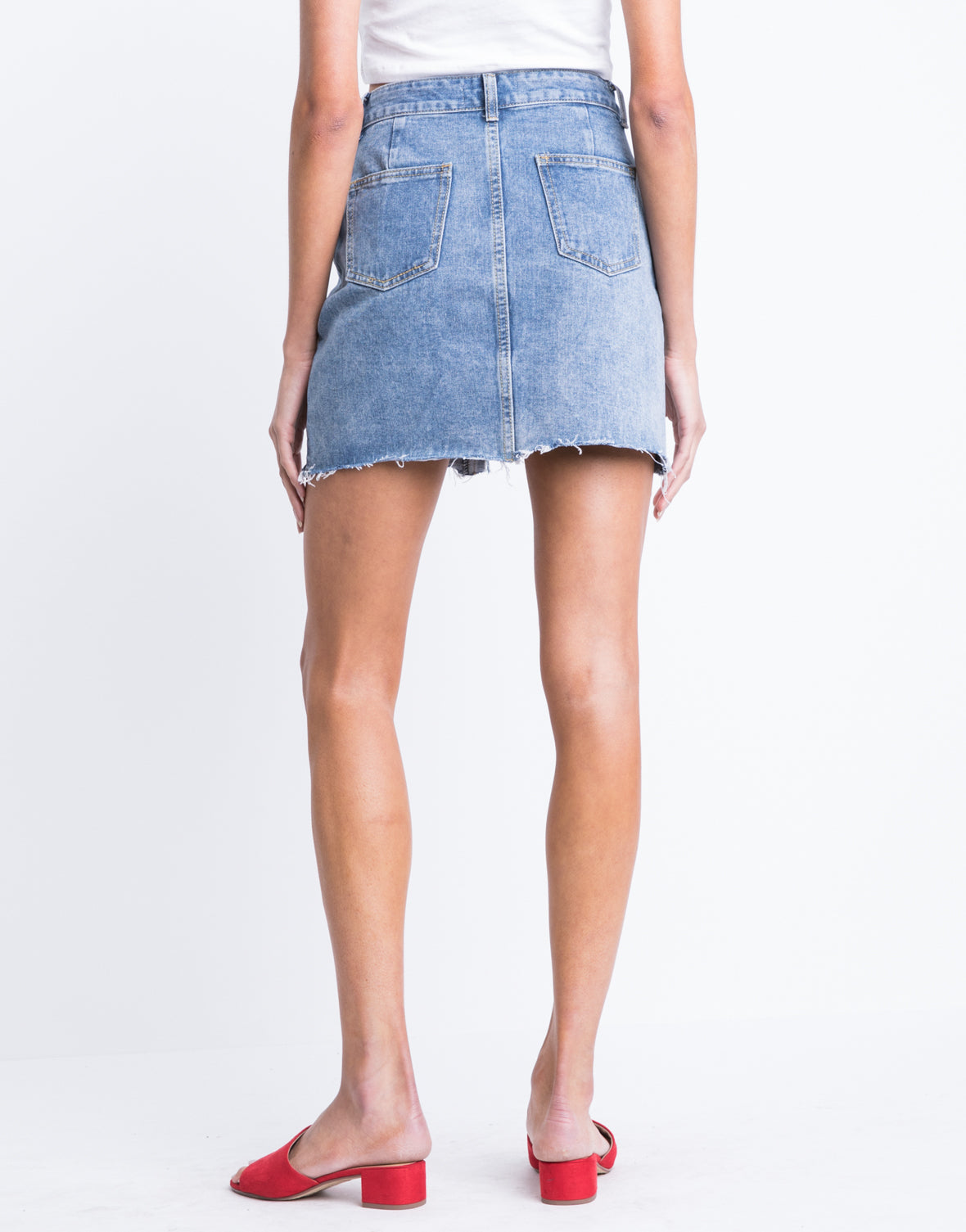 Leah Distressed Denim Skirt