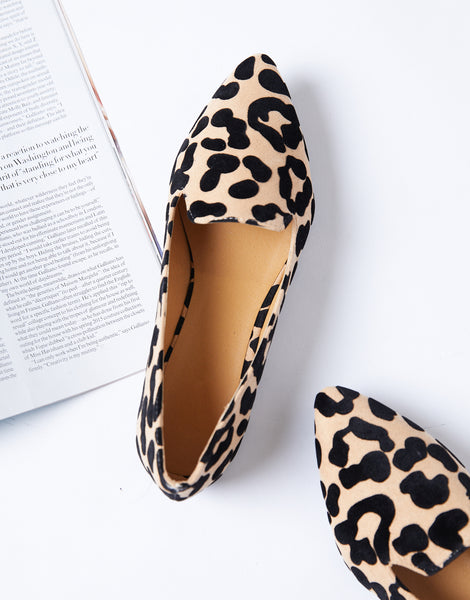 Leopard Pointed Toe Loafers - Leopard