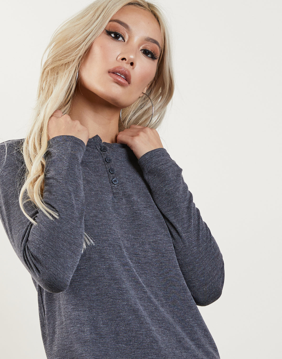 Lex Ribbed Knit Henley Top