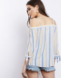 Lighter Than Air Striped Off The Shoulder Top