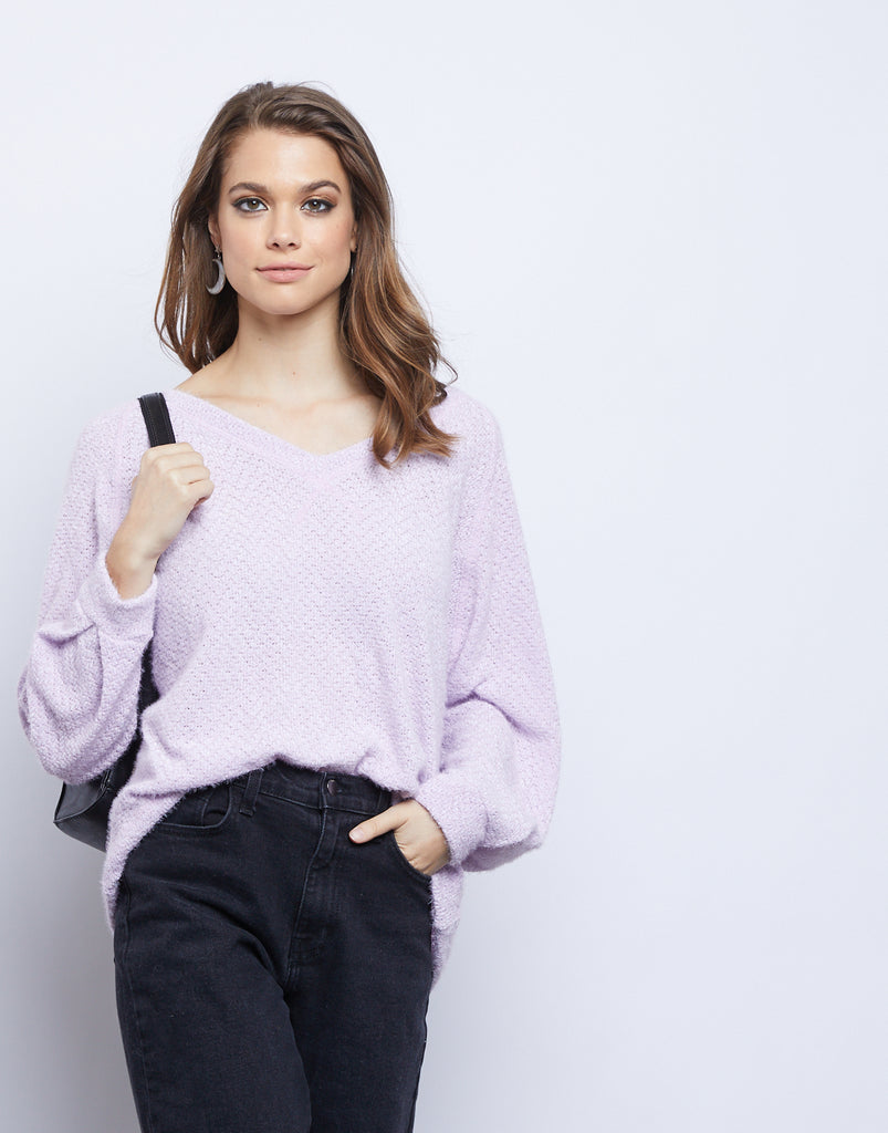 Lily Fuzzy Sweater Tops Lavender Small -2020AVE