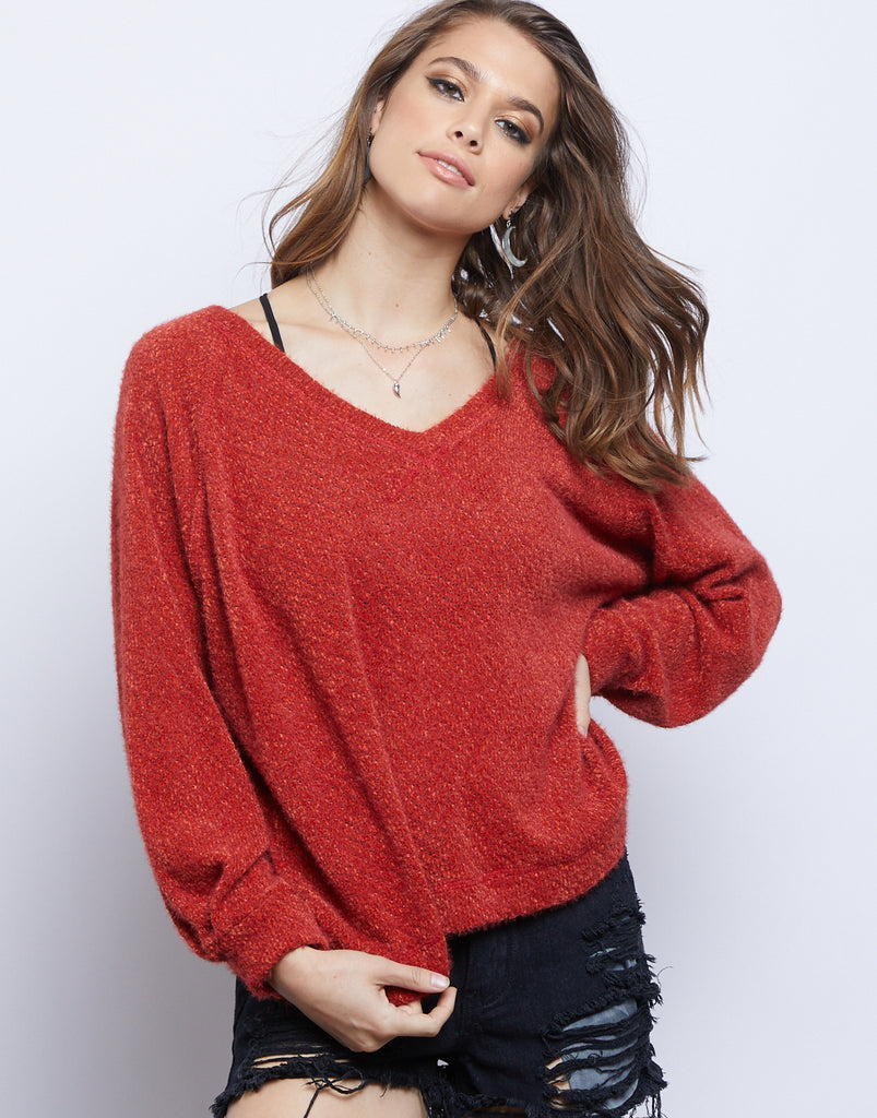 Lily Fuzzy Sweater Tops Red Orange Small -2020AVE