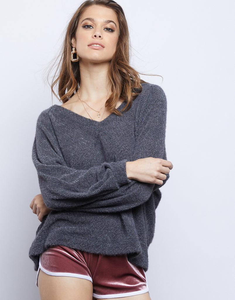 Lily Fuzzy Sweater Tops Charcoal Small -2020AVE