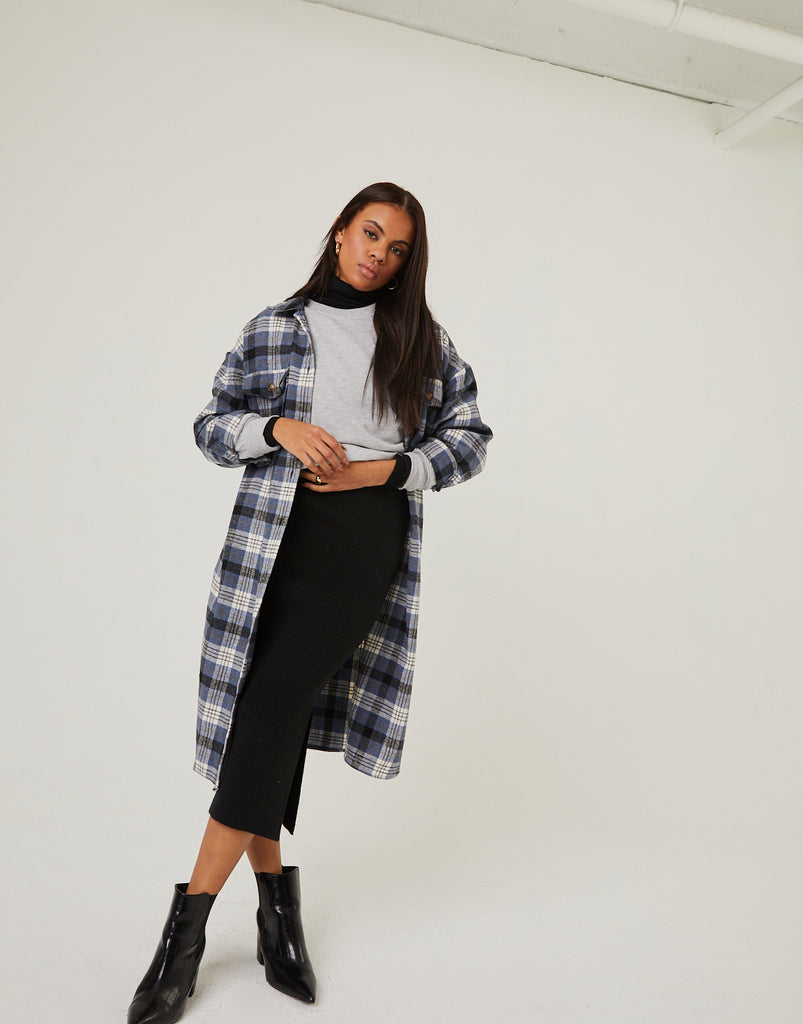 Long Flannel Shirt Coat Outerwear Blue S/M -2020AVE