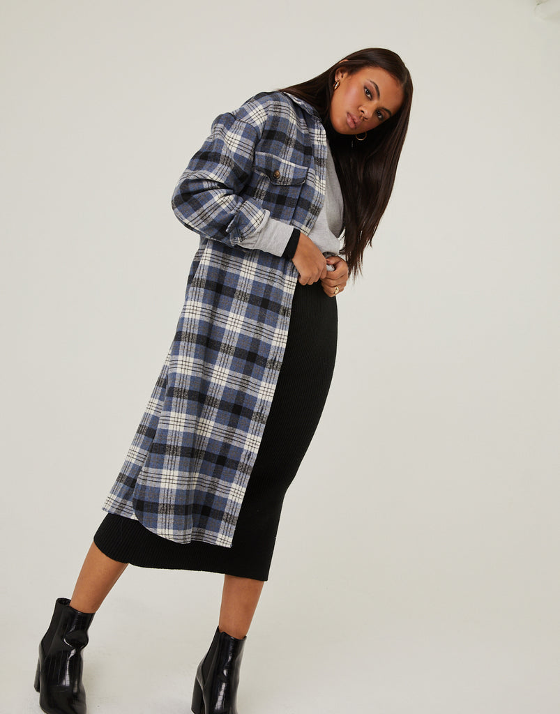 Long Flannel Shirt Coat Outerwear -2020AVE