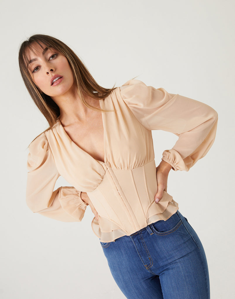 Long Sleeve Corset Blouse Tops -2020AVE