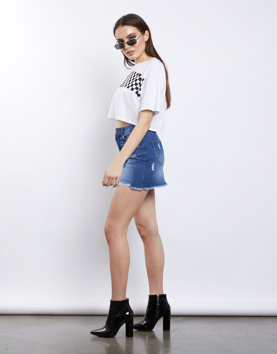 Love Struck Distressed Denim Skirt