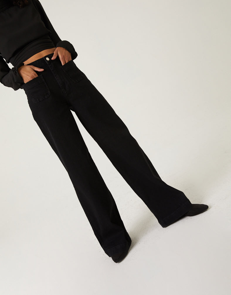 Wide Leg High Waisted Jeans Bottoms -2020AVE