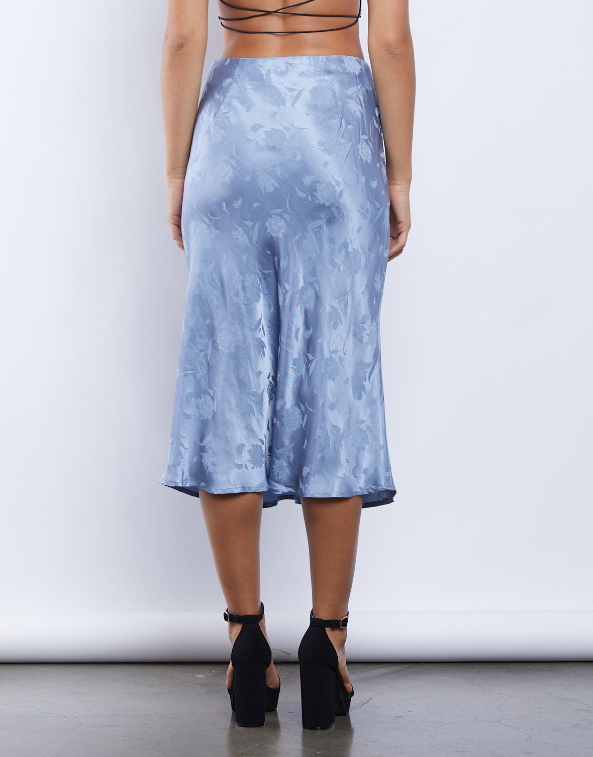 Make It Blue Midi Skirt