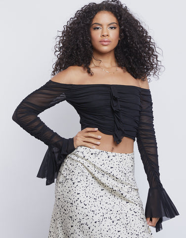 Mesh Ruched Crop Top