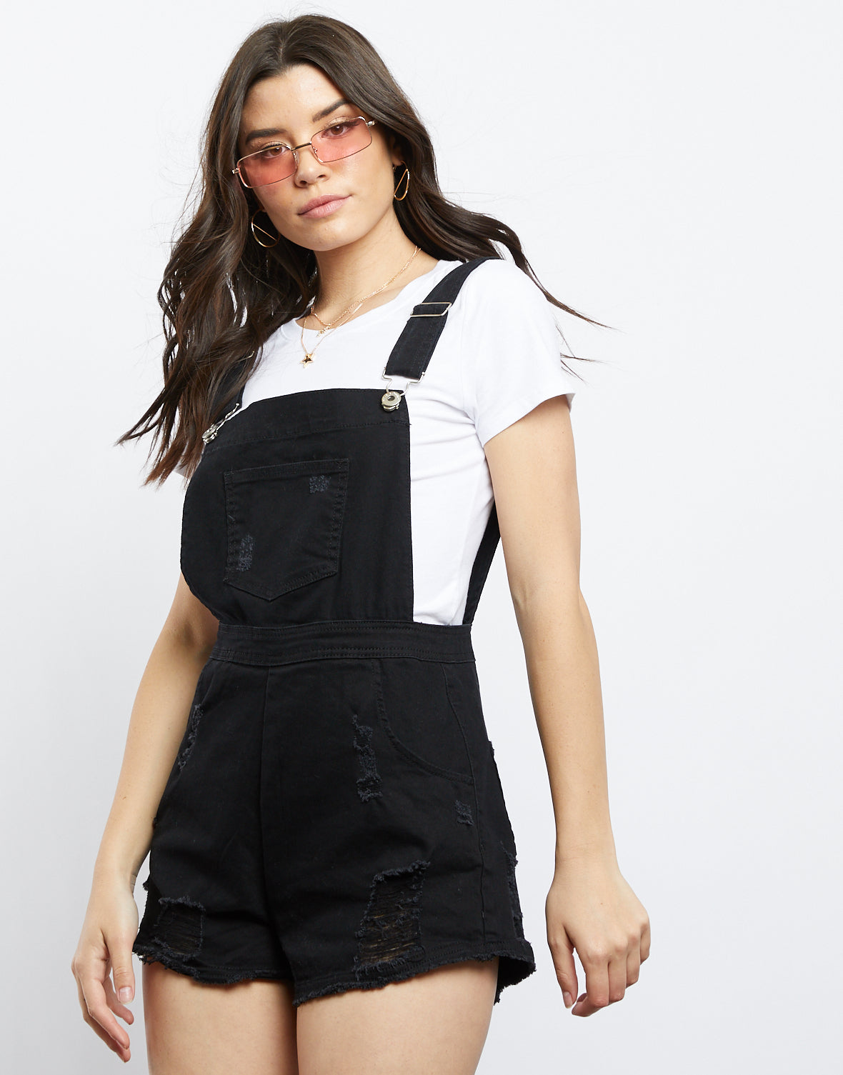 Mia Denim Overall Shorts