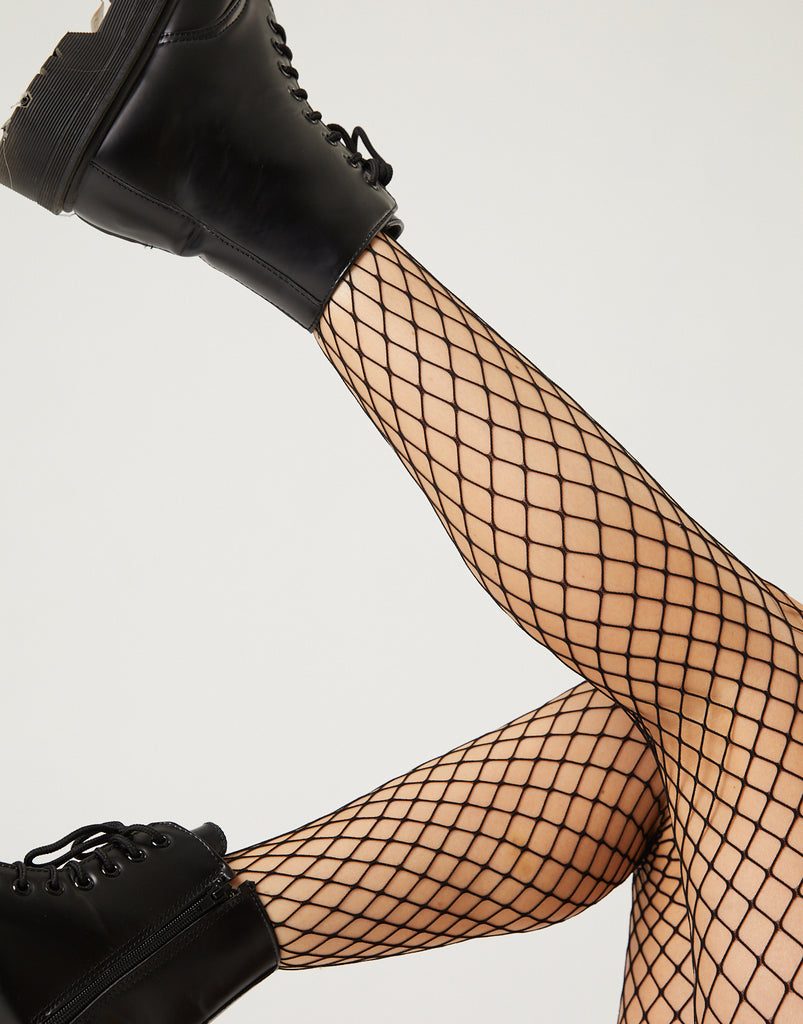 Mid-Size Grid Fishnet Tights Intimates Black One Size -2020AVE