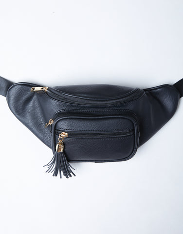 Midnight Geny Leather Fanny Pack