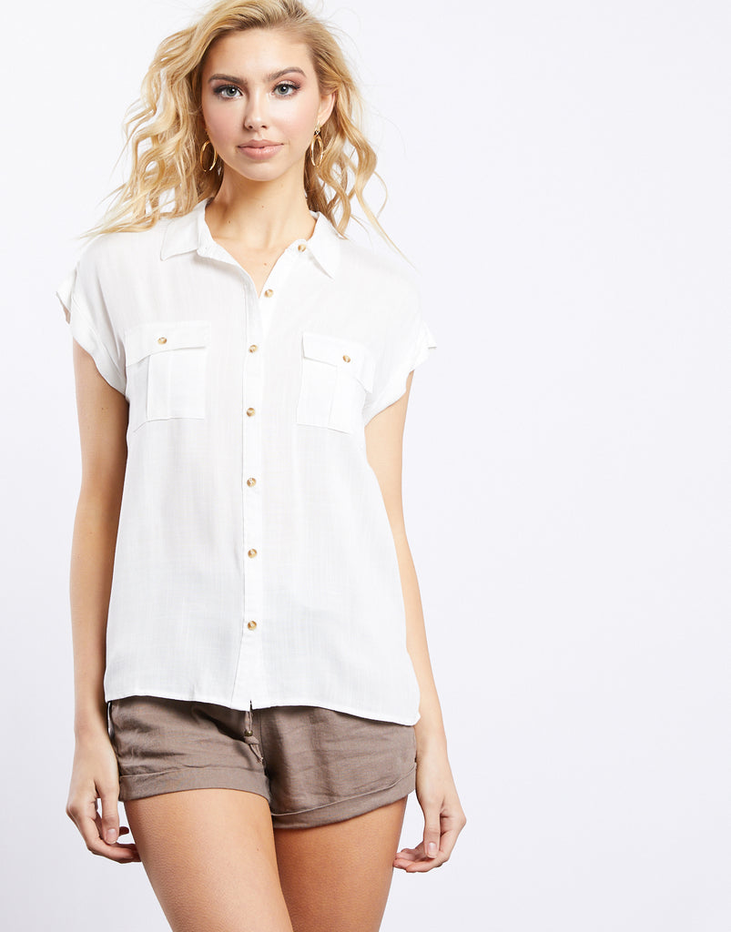 Midsummer's Night Button Up Shirt tops White Small -2020AVE