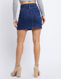 Mirrored Button Front Denim Skirt