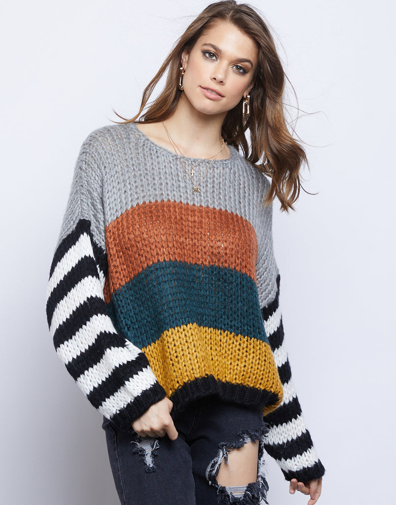 Mix Up Knit Sweater Tops Multi Small -2020AVE