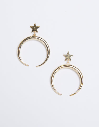 Moon and Star Dangle Earrings